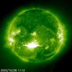 The Solar and Heliospheric Observatory (SOHO) spacecraft captured this epic solar flare in 2003. Image credit: ESA / NASA - SOHO
