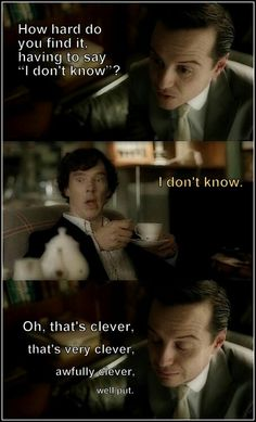 I kind of want more Sherlock-Moriarty moments.theyre so damn funny togeher!- I kind of want more Sherlock-Moriarty moments…theyre so damn funny togeher! Sherlock Fandom, Sherlock Bbc, Jim Moriarty, Sherlock Quotes, Watson Sherlock, Sherlock Holmes Funny, Martin Freeman, Benedict Cumberbatch, The Reichenbach Fall