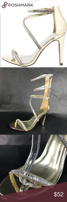 Gold Crystal Rhinestone Wrap Around Sexy Heels NWT Mid Calf High Heel Sandal Gold Patent DATE NIGHT/ NIGHT OUT/ FREAK EM SHOES Never been worn  included All crystals are in place  ❌ defects or imperfections noted ❌ ❌ TRADES Shoes Heels