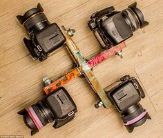 The custom camera rig used by Mr Brady (above) allows him to capture a 360 degree view of ...