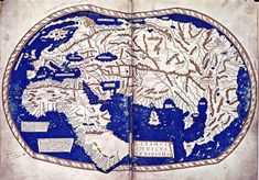 "The world map of ""Henricus Martellus Germanus"" (Heinrich Hammer), Florence 1490-92. The first map with the Dragon Tail. It is a mixture of Ptolemy, recent Portuguese discoveries and unknown sources."