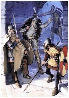 PhotoPlog - Angus McBride - Battle Between Vikings and Skraelings, Century Viking Art, Viking Warrior, Viking Reenactment, Old Norse, Early Middle Ages, Norse Vikings, Dark Ages, Military Art, Medieval Fantasy