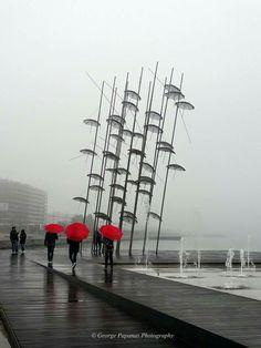 Beautiful Thessaloniki by George Papanas Photography Thessaloniki, Color Splash, Color Pop, Red Umbrella, Dancing In The Rain, Rain Dance, Journey, Macedonia, Rainy Days