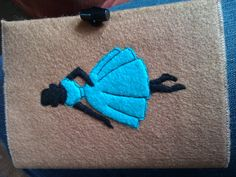 A6 Blue 50's lady felt notebook cover