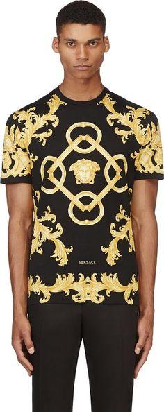 ce2fd4610df46 Versace Black Baroque Medusa T-Shirt