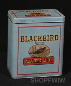 Vintage Style Blackbird Tea Reproduction Tin Advertsing Canister