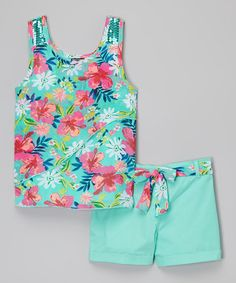 Loving this Mint Floral Tank & Shorts on #zulily! #zulilyfinds
