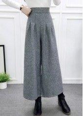 Wide Leg High Waist Light Grey Straight Pants