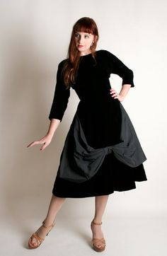 Hey, I found this really awesome Etsy listing at https://www.etsy.com/listing/253116228/vintage-1950s-dress-black-velvet-formal
