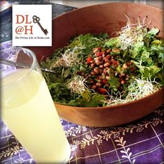 Salad in the MEGA BOWL & kefir water  #lunch #eatyourgreens #iamstarved #healthyhealingkitchen #divinelifekitchen