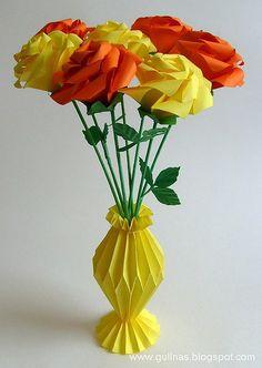 Оригами розы и ваза
