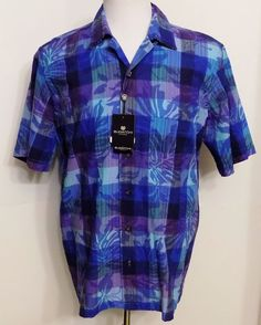NEW Bugatchi Uomo Mens Shirt Blue Purple Short Sleeve Button Down Size M #BugatchiUomo #ButtonFront