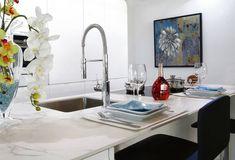 The Original Granite Bracket® Looks at More Popular Countertop Materials Best Kitchen Sinks, Kitchen Sink Faucets, Diy Kitchen, Cool Kitchens, Kitchen Ideas, Kitchen Tips, Kitchen Decor, Modern Kitchens, Types Of Countertops