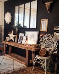 Luxury Home Decoration Ideas Key: 1921433285 Industrial Interiors, Dark Interiors, Rustic Interiors, Scandinavian Interior Design, Decor Interior Design, Farmhouse Living Room Furniture, Deco Boheme, Loft Style, Woodworking Projects Diy