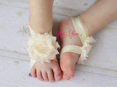 Ivory Baby Shoes-Baby Barefoot Sandals-Baby Sandals-Flower Sandals-Barefoot Baby-Newborn Shoes-Christening-Wedding -Shoes-Spring Summer on Etsy, $8.00