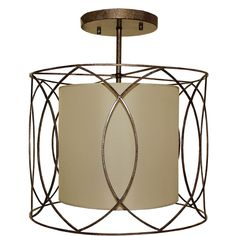 Flush Mount 3-light Wrought Iron and Beige Drum Chandelier - Overstock™ Shopping - Great Deals on Chandeliers & Pendants
