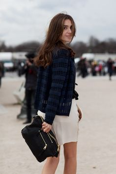 perfectly tousled french hair and an oversized clutch