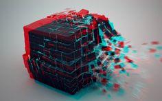 Download wallpapers cubes, 4k, squares, art, splinters, creative