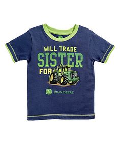 John Deere Navy & Lime Green Will Trade Sister Tee - Infant | zulily
