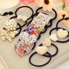 Rétro Cristal Imitation Perle Perles Coeur Arc Élastique Bande De Cheveux En Caoutchouc Cheveux Clip pour les Femmes Fille Chapeaux Accessoires De Cheveux