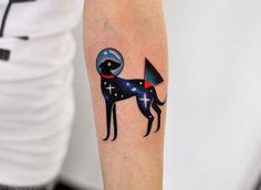 Space greyhound tattoo for Viviane!