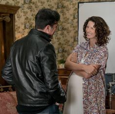BTS Pic of Caitriona Balfe and Matt Roberts on set of Outlander Season 3 | Outlander Online