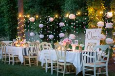 Whimsical storybook baby shower. Celebrated outside with outdoor lights.