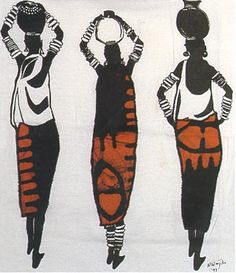Thinking: what if the container on the head would be cut out, so they are carrying the diirnk inside the bottle --- An illustration of batique-d African women that caught my eye. African American Art, African Women, Illustrations, Illustration Art, African Art Paintings, Africa Art, Kenya Africa, Batik Art, African Textiles