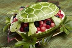 Fruit salad in a carved watermelon bowl