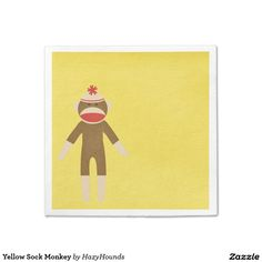 Yellow Sock Monkey Paper Napkin  sc 1 st  Pinterest & Yellow Sock Monkey Paper Plate | Paper Plates and Sock