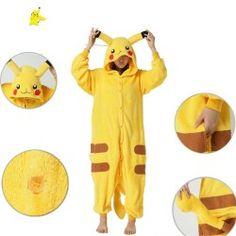 Triline Cosplay Romper Japan Anime Pikachu Pokemon Kigurumi Pajamas Hoodie Pyjamas Cosplay Onesie Costume #onesie #yellow_onesie #cute_onesie