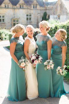 Mon Cheri Bridal Gown | Green Jim Hjlem Bridesmaid Dresses | Deep Red Flowers | Brympton House | Helen Cawte Photography | http://www.rockmywedding.co.uk/sally-dan/