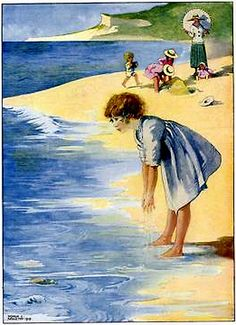 The Sand and Sea _ What a Lot of Water - Illustration by Honor C. Gravure Illustration, Children's Book Illustration, Beach Illustration, Book Illustrations, Seaside Art, Beach Art, Sand Beach, Nostalgic Images, Beach Scenes