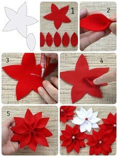 Christmas star The Effective Pictures We Offer You About DIY Fabric Flowers pattern A quality picture can tell you many things. You can find the most beautiful pictures that can be presented to you ab Felt Christmas Decorations, Felt Christmas Ornaments, Christmas Star, Christmas Wreaths, Christmas Poinsettia, Crochet Ornaments, Crochet Snowflakes, Diy Ornaments, Beaded Ornaments