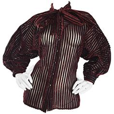 Preowned Vintage Nina Ricci Couture Black + Burgundy Silk Cut - Out... ($695) ❤ liked on Polyvore featuring tops, blouses, red, red silk blouse, vintage blouses, silk button-down blouses, cut out sleeve top and silk blouse