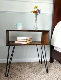 This is a simplistic mid-century modern nightstand handmade with red oak. Finished with a dark walnut stain and a hand rubbed polyurethane. Hairpin legs are of black satin painted steel. Dimensions: x x Weight: The wood pieces are handpicked for each Classic Furniture, Mid Century Modern Furniture, Cheap Furniture, Online Furniture, Furniture Plans, Rustic Furniture, Furniture Decor, Bedroom Furniture, Painted Furniture