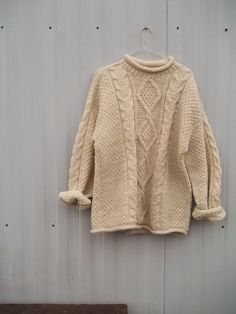 60s Hand Knit Fishman Wool Chunky Sweater. $42.00, via Etsy.