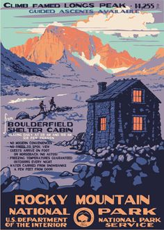 Reproductions of WPA National Park serigraphed posters. Originally produced between 1938 to 1941 and intended to stir the American public's imagination for education, theater, health, safety, and TRAVEL! Have you visited a National Park lately?