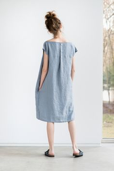 Light elephant grey washed linen dress with by notPERFECTLINEN