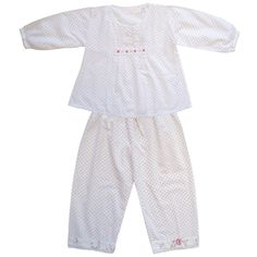 7dbe1abb1dae A very pretty two piece smock and trouser pyjama set in dotty lawn cotton  with a floral trim and mother-of-pearl buttons. Powell CraftChildrens  PyjamasBaby ...