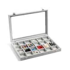 24Slots Velvet Glass Jewelry Storage Organizer Box Earring Necklace Multi-Purpoe