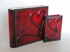 Deep red clasic leather photo album and DVD case set