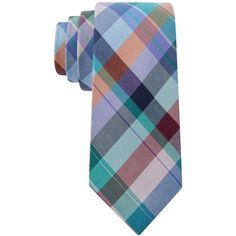Tommy Hilfiger Men's Super Multi Plaid Skinny Tie (7055 RSD) ❤ liked on Polyvore featuring men's fashion, men's accessories, men's neckwear, ties and mint