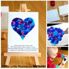 Fingerprint Heart Keepsake craft for kids (with FREE PRINTABLE POEM). A simple craft for toddlers and preschoolers to send a special I love you this Valentines day or Mothers day. Use a mini canvas or turn them into greeting cards.