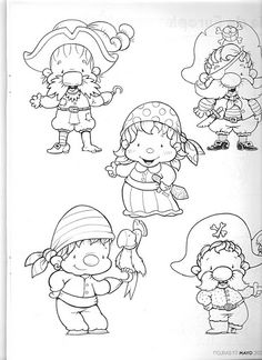 5 little pirates Coloring Pages For Boys, Colouring Pages, Pirate Theme, Pirate Party, Cartoon Pics, Cartoon Drawings, Pirate Activities, Sea Crafts, Pirate Treasure