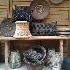 Makenge, mud cloth cushions and hand woven baskets all in store ...loving all this together! #love #decor #tribal #africantribal #raw #handwoven #casa #stylist #handcrafted #furniture #baskets #interiorinspo #interiordecorating #saltwatersorrento #saltwateronline @africanologie