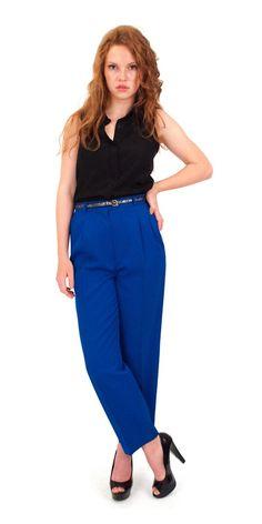 Bright blue trouser pants / medium $44 (http://www.vintalier.com/new/bright-blue-trouser-pants-sz-m/)