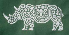 Tribal White Rhino Cross Stitch chart - want to stitch this