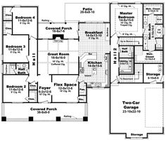 you could modify this for an straw bale house.Bungalow Style House Plans - 2400 Square Foot Home , 1 Story, 4 Bedroom and 2 Bath, 2 Garage Stalls by Monster House Plans - Plan Craftsman Style House Plans, Cottage House Plans, Dream House Plans, Cottage Homes, House Floor Plans, My Dream Home, Dream Houses, 4000 Sq Ft House Plans, One Level House Plans