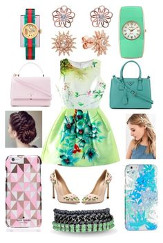 """Pink vs green"" by fashion-house-boutique on Polyvore featuring Giambattista Valli, kitsch island, Venessa Arizaga, Prada, Serapian, Urban Outfitters, Vera Bradley, Kate Spade, Peugeot and Gucci"